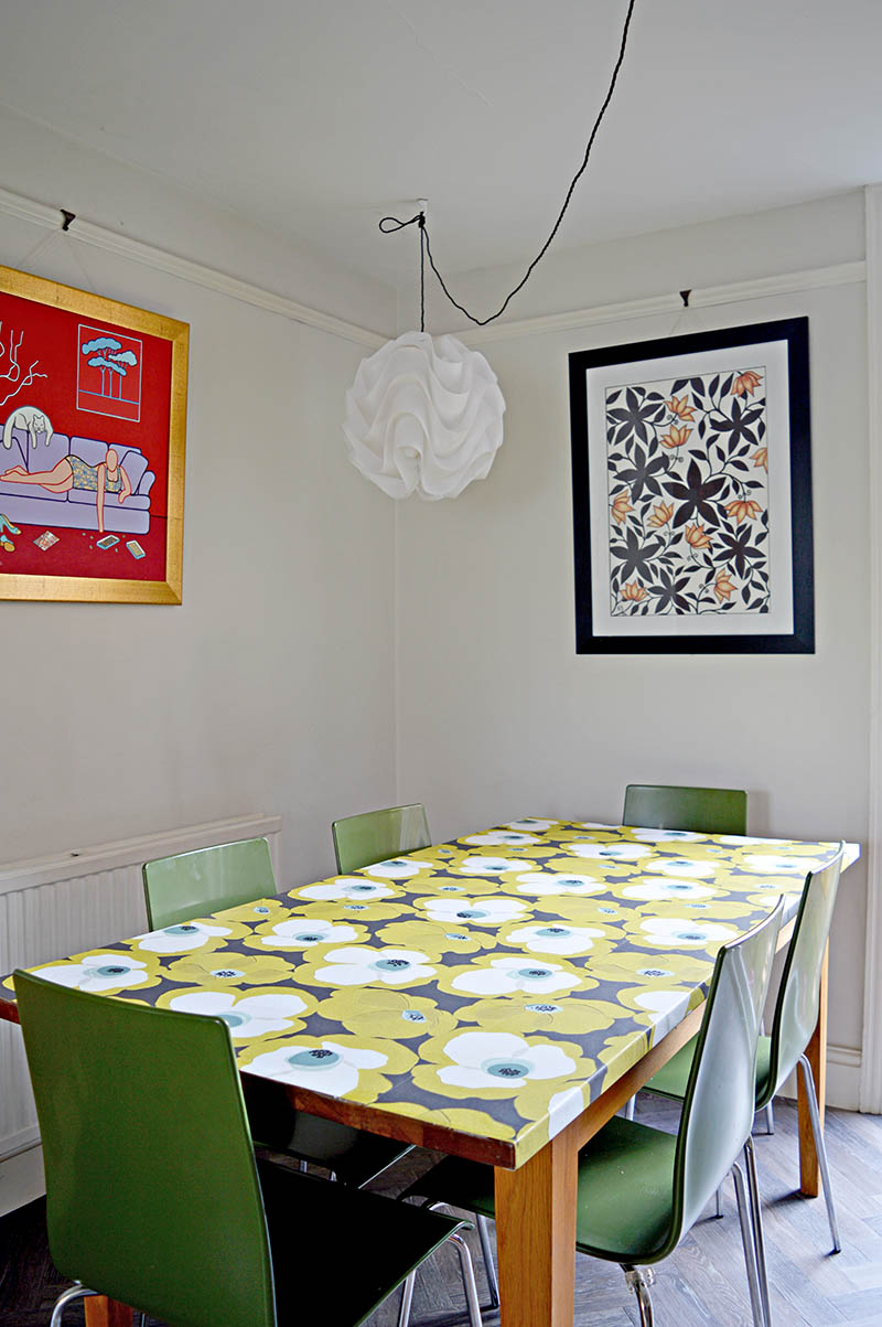 Mid Century modern update with decoupage table top using wallpaper.  Step by step tutorial.