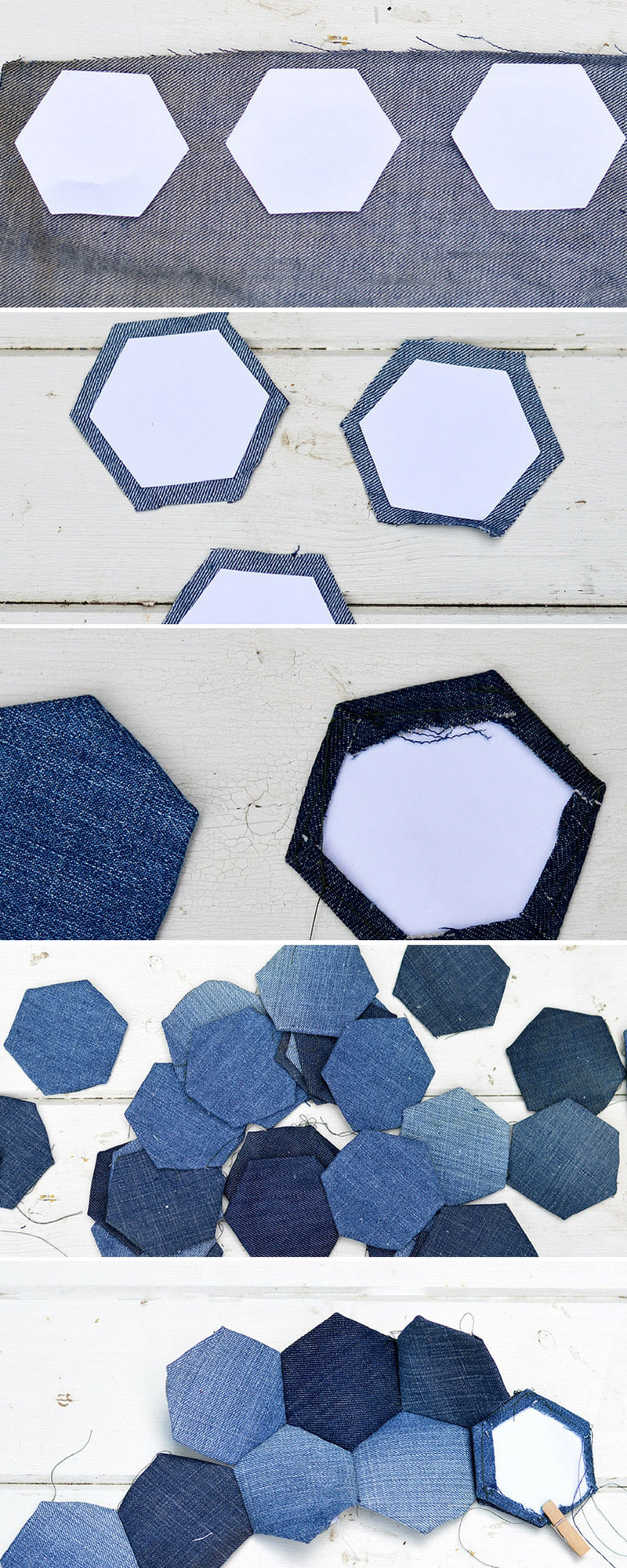 English paper piecing denim patchwork for a seat cover.