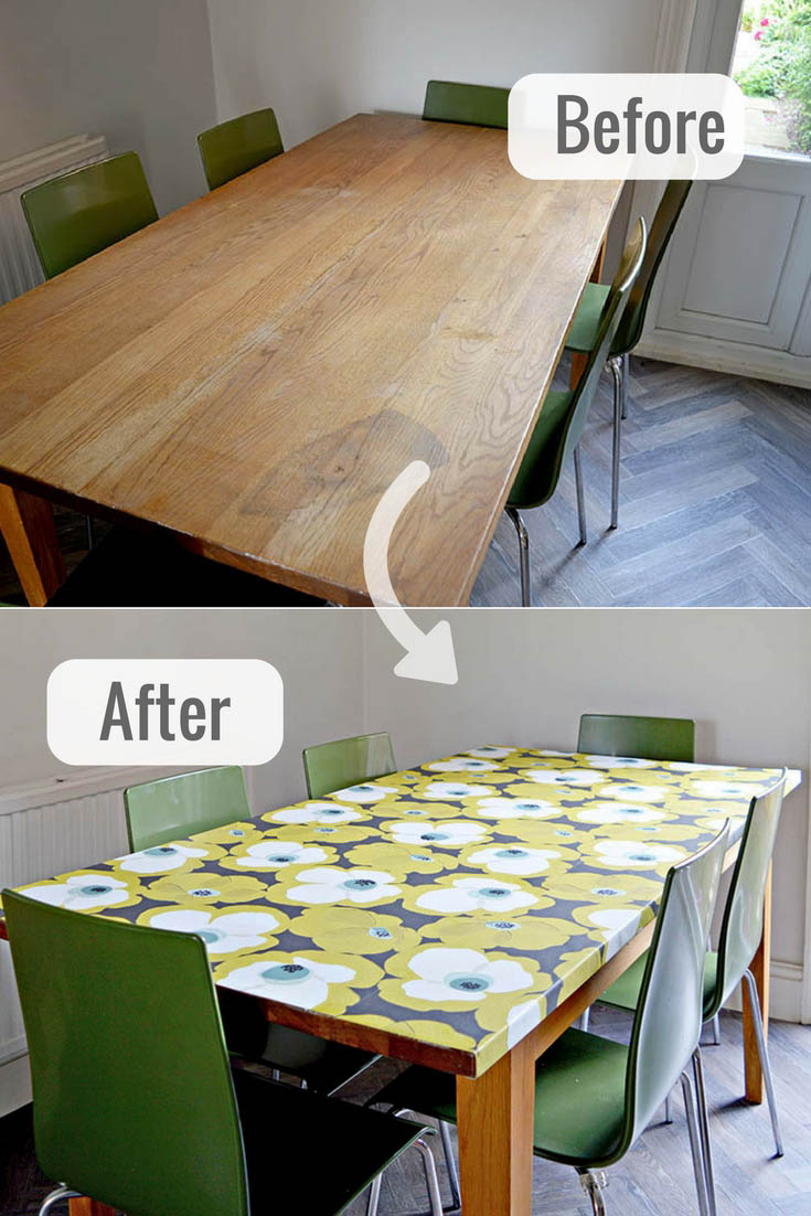 How to revamp a tired old table and get a modern look with a decoupage table top with wallpaper.