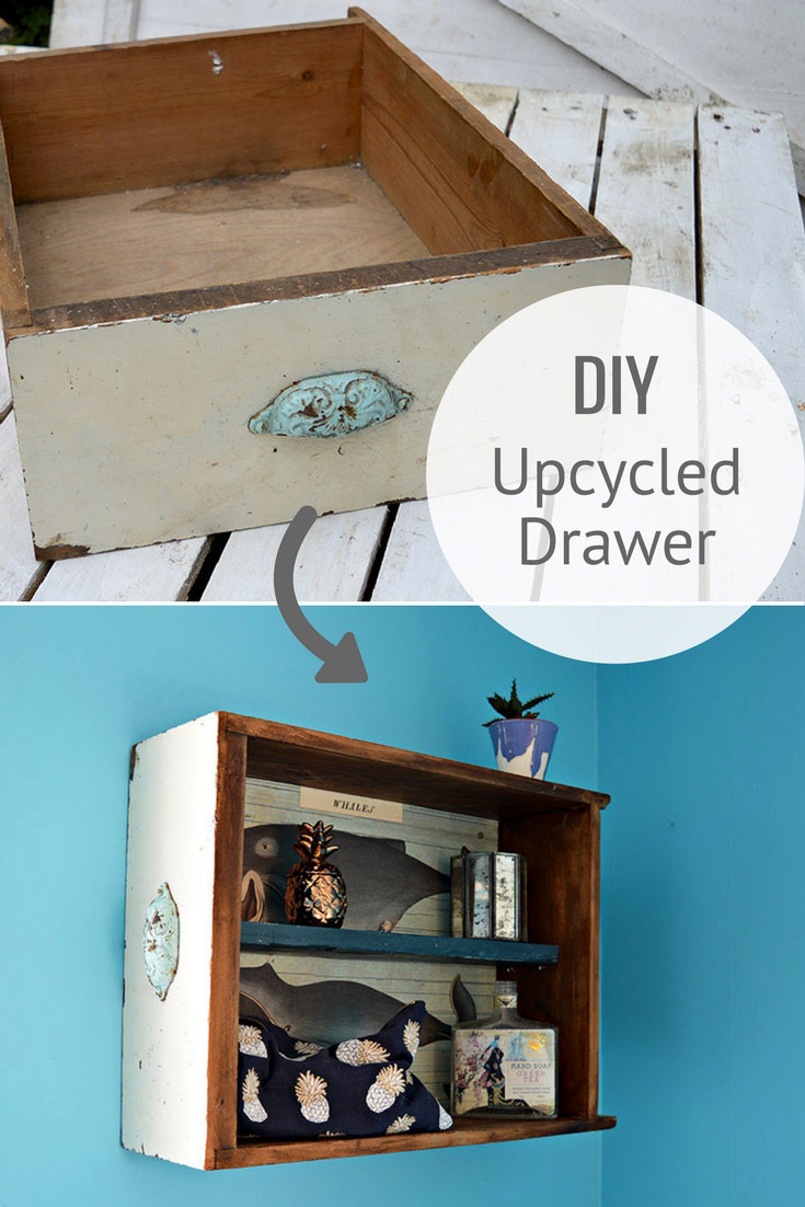 How to easily turn upcycled drawers into a handy sweet bathroom wall cabinet.