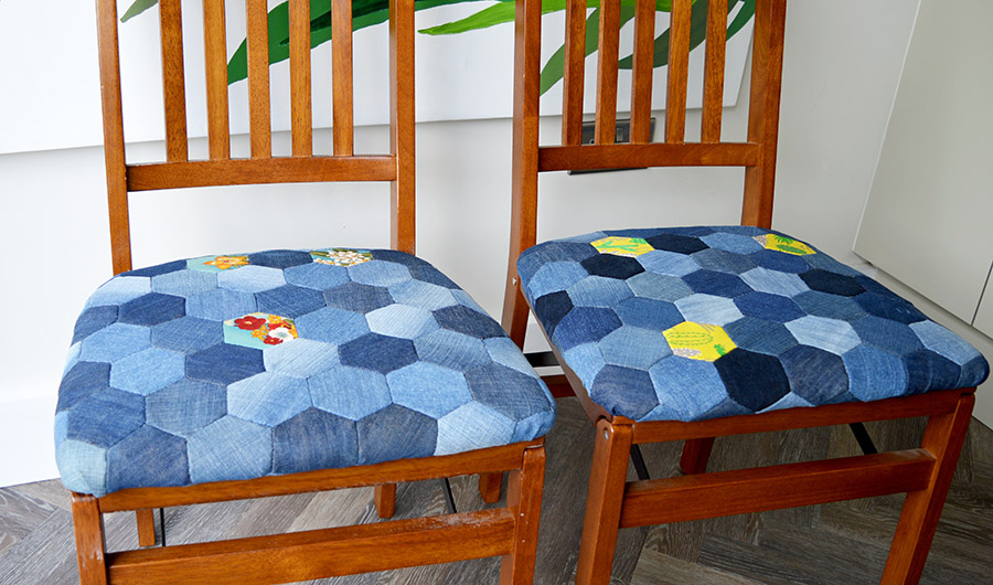 Make a gorgeous denim patchwork chair using old jeans and English Paper Piecing hexagons full tutorial.