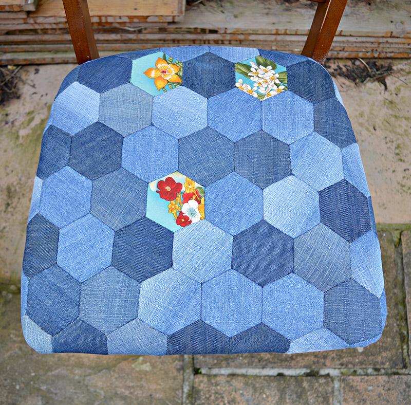denim patchwork seat pad blue s