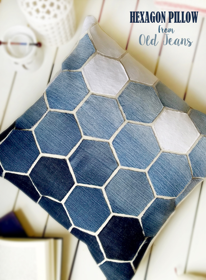 hexagon-pillow-from-old-jeans