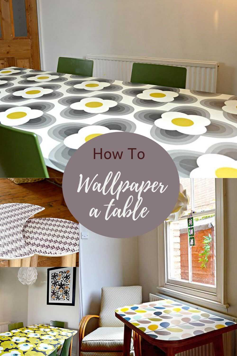 How to decoupage tabletop with wallpaper