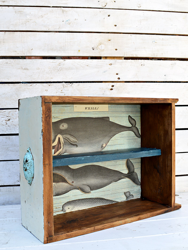 Upcycled drawers to make some unique and quirky furniture for your walls.  You can decoupage paper on the back to suit your room.  This one was for a bathroom hence the Whales.