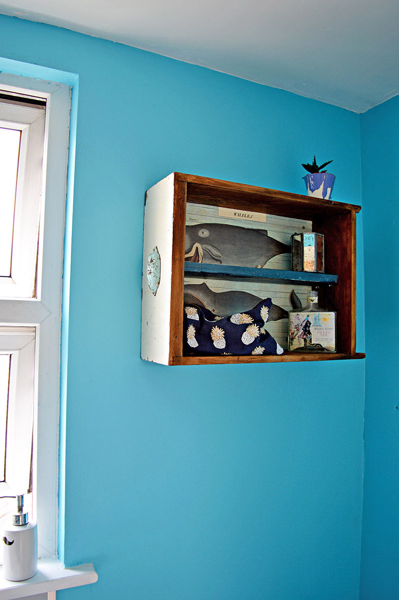 DIY Bathroom wall cabinet made from a recycled old drawer.