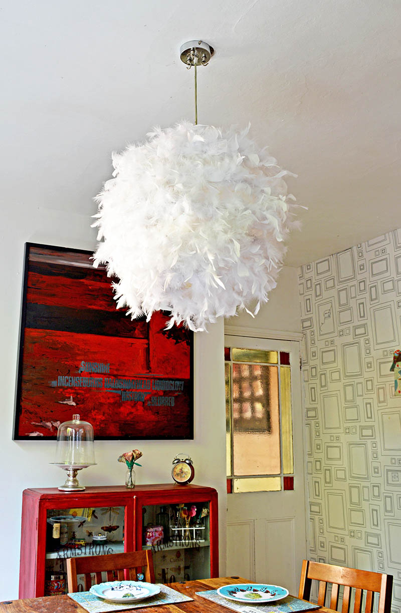 Make your own gorgeous DIY feather lampshade.  This simple IKEA hack will add a touch of glamour to any room.