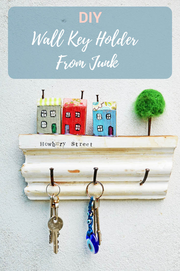 Simple to make upcycled wall key holder just using junk scrap wood &  rusty nails. Great gift idea, it can also be personalized with your own street name.