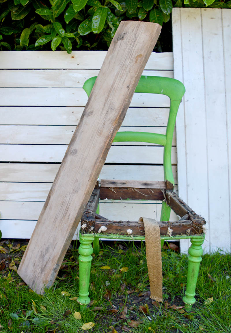 Scaffolding board and old chair for upcycled bench.