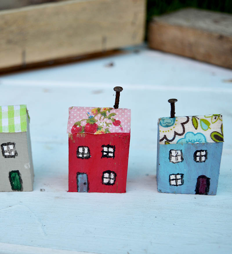 Painted wooden houses for wall key holder