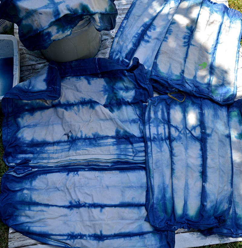 Shibori dyeing accordion fold.