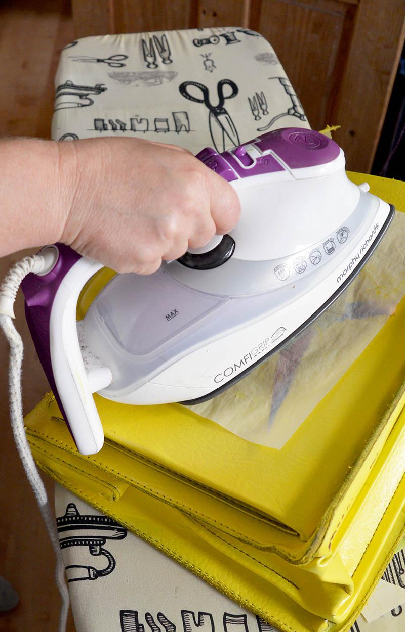 Ironing transfer onto leather