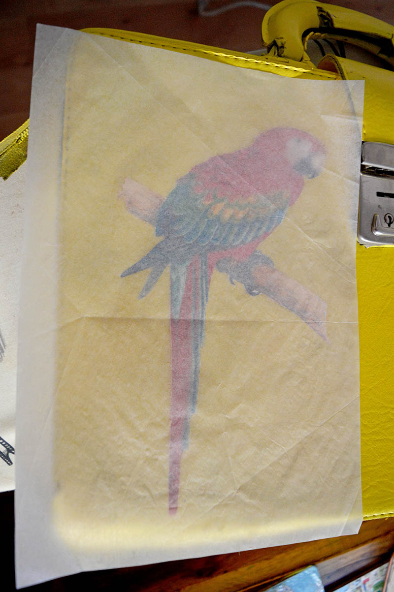 Wax paper over transfer image