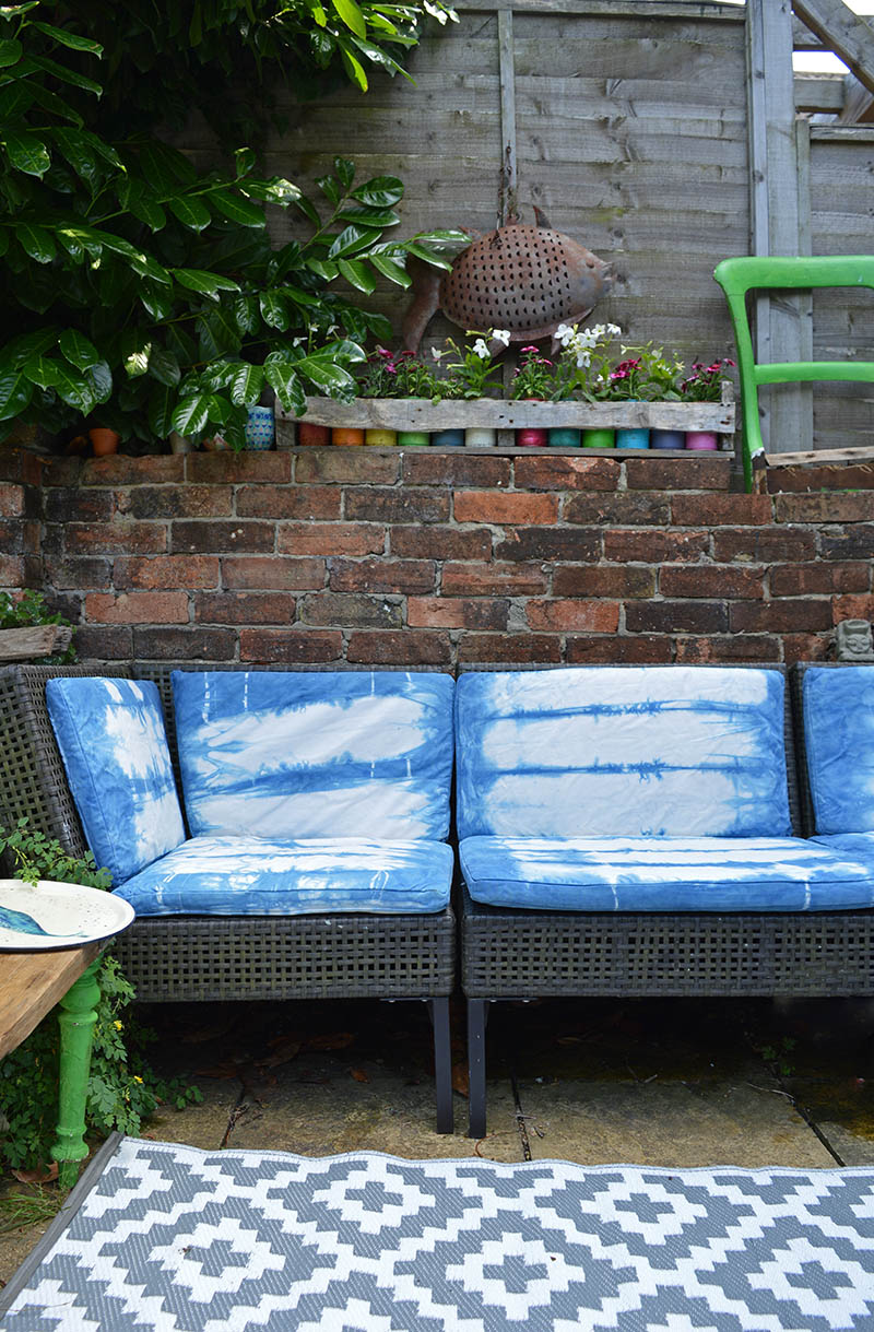 Ikea Ammero hack with indigo shibori dyeing a great way to bring new life into outdoor sofa cushions