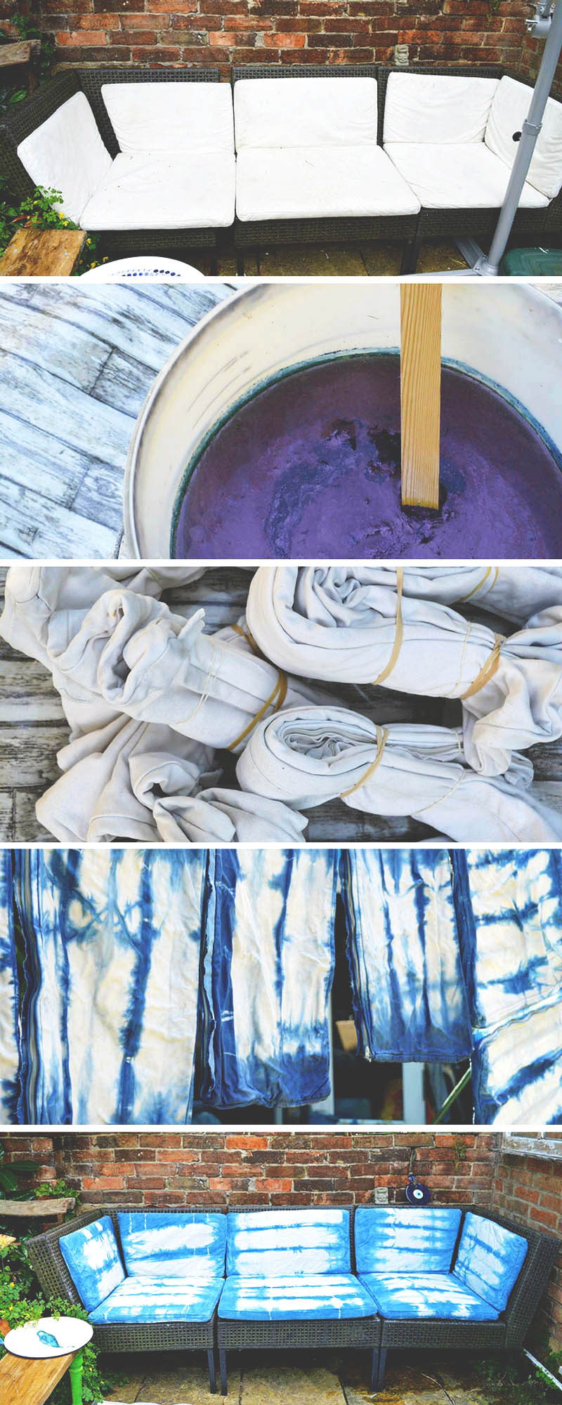 How to update an Ikea Ammero sofa with indigo shibori dyeing