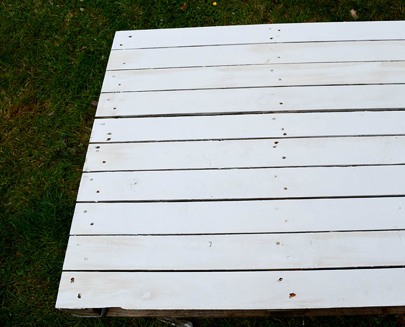 white painted palllet
