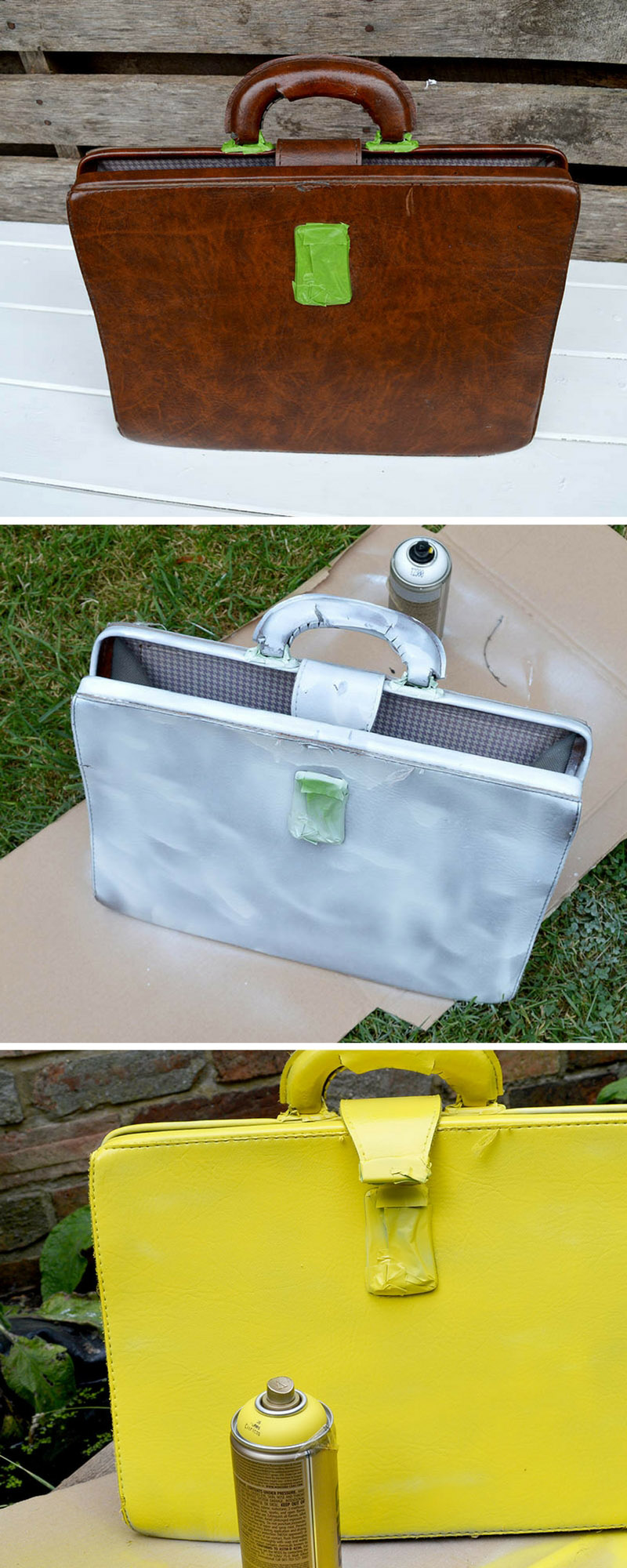 Spray painting a leather briefcase for an upcycle