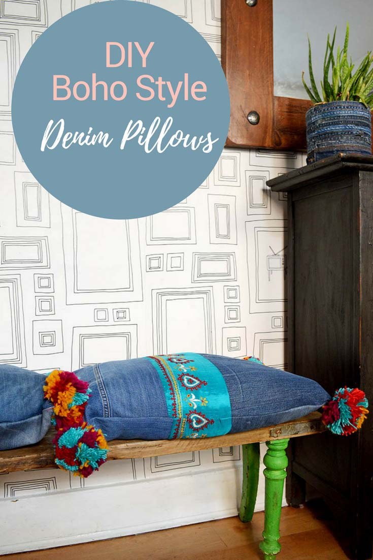 These gorgeous recycled jeans pillows will brighten up any home.  They made from upcycled denim and have colourful pom poms and sari trim for that boho look.