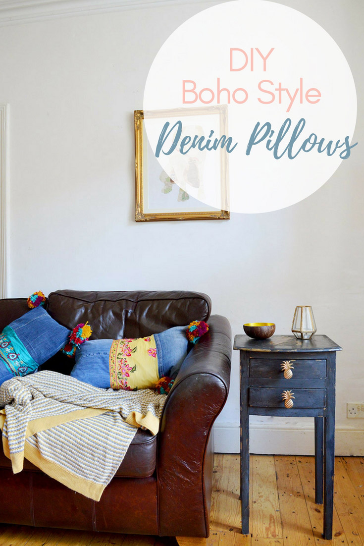 These gorgeous Boho style upcycled denim cushions  will brighten up any home.  They made from recycled jeans and have colourful pom poms and sari trim for that boho look.