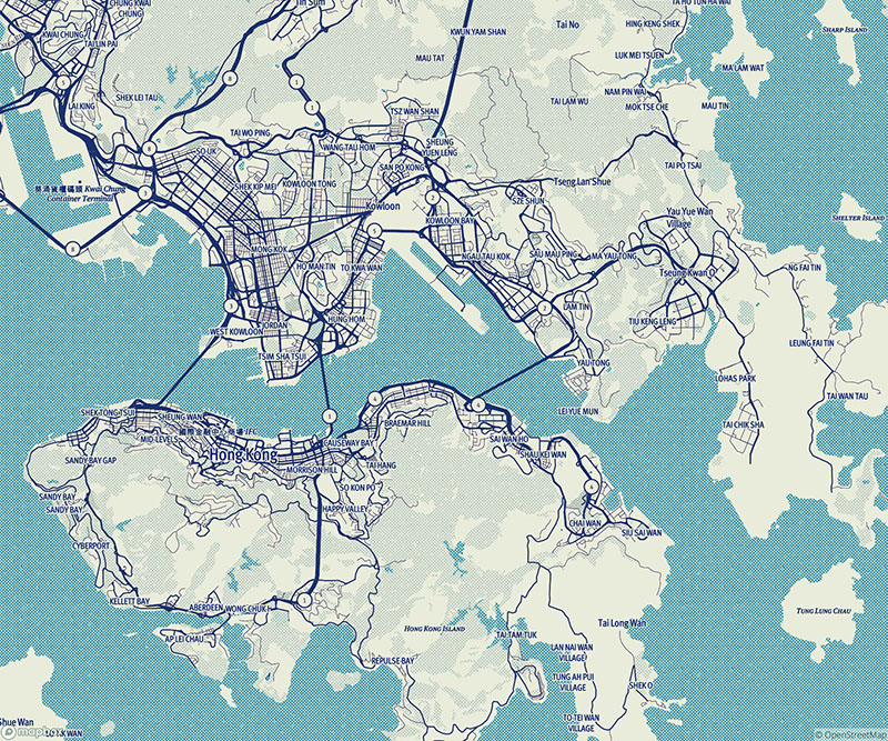 Mapbox generated map of Hong Kong