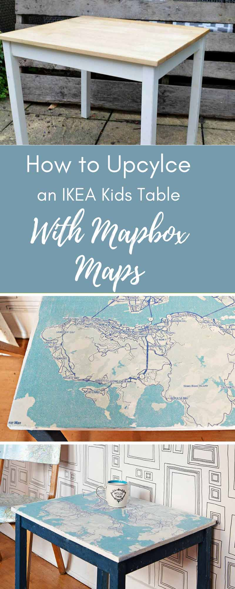 Upcycled IKEA kids table with mapbox maps