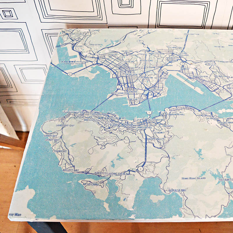 IKEA Kids table hack map top