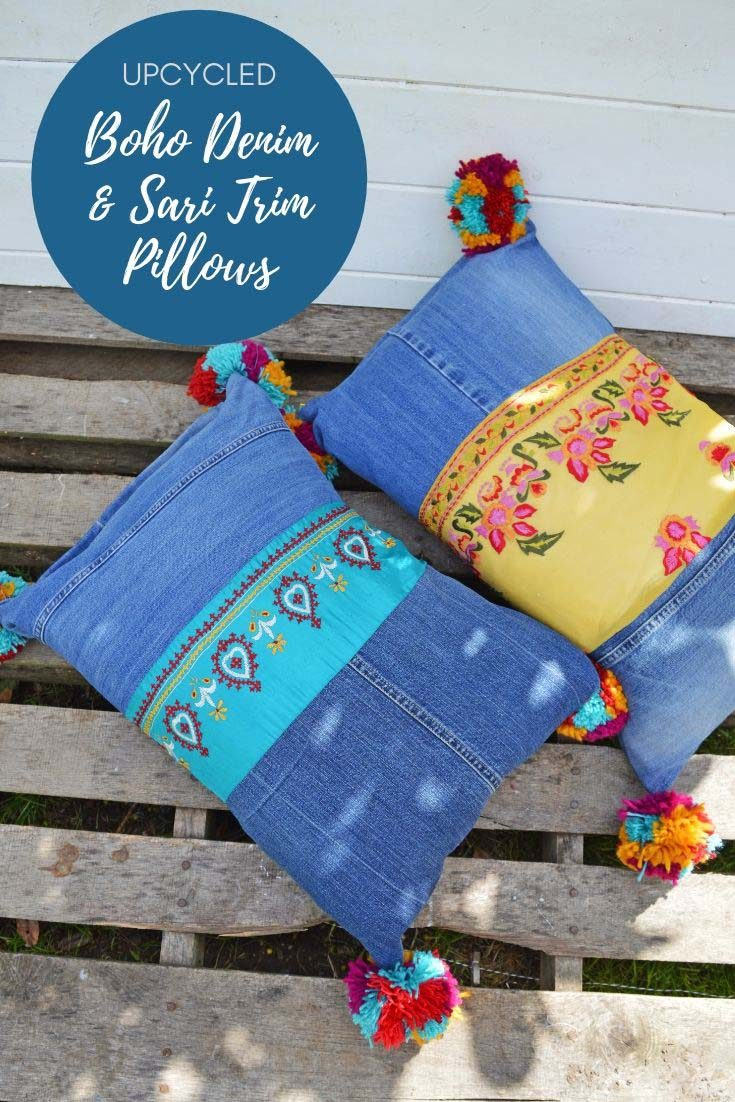 These gorgeous recycled jeans pillows will brighten up any home. They made from upcycled denim and have colourful pom poms and sari trim for that boho look. #boho