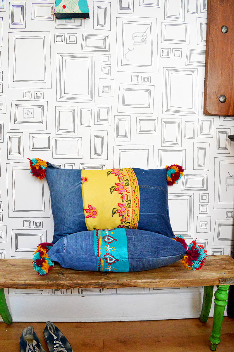 boho jeans pillows bench