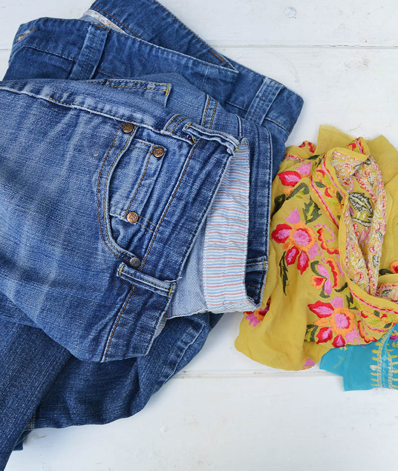 Jeans and Sari Trim for Boho Pillows DIY