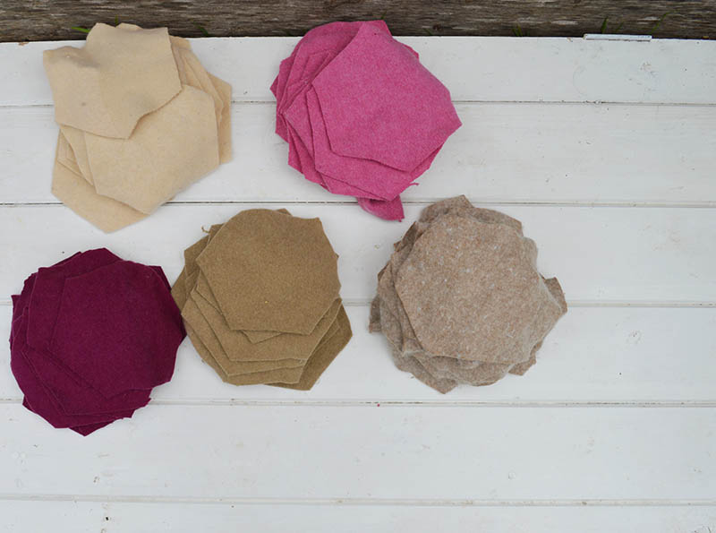 Felted wool hexagons