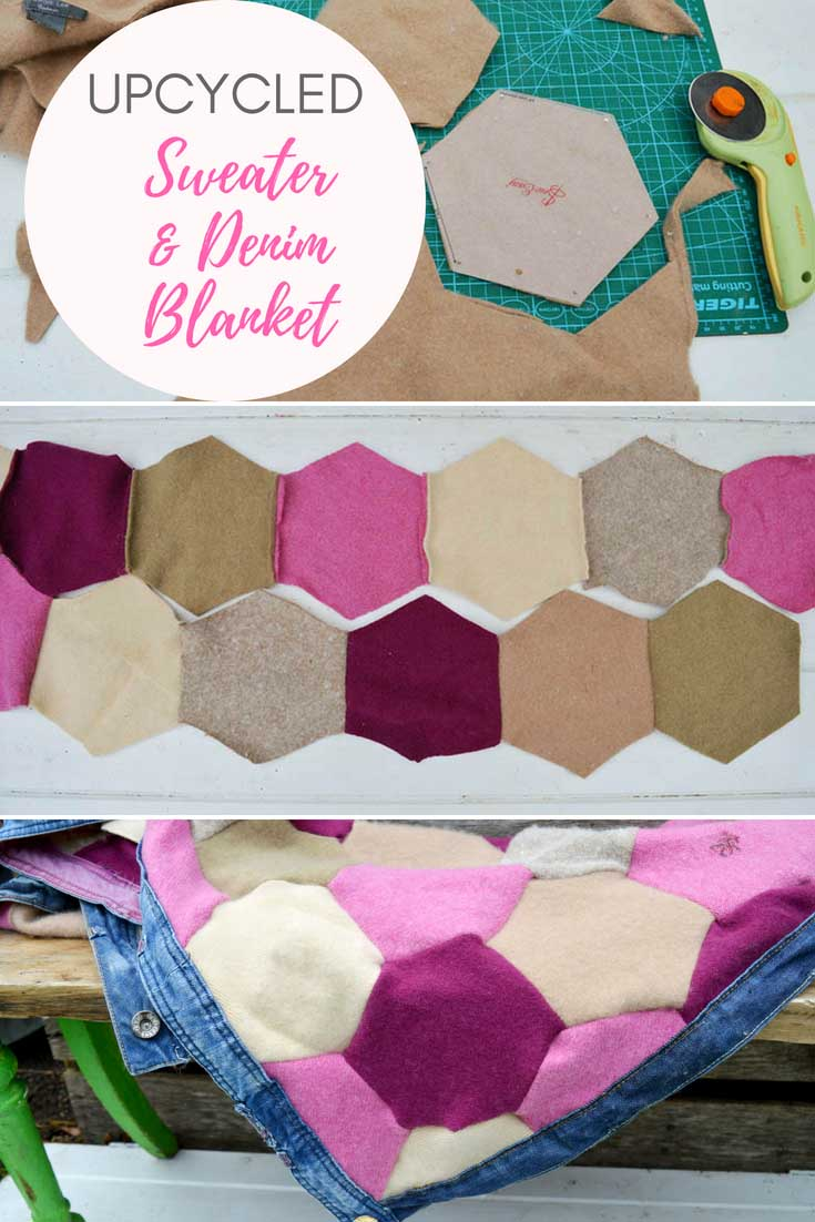 DIY recycled sweater blanket with denim