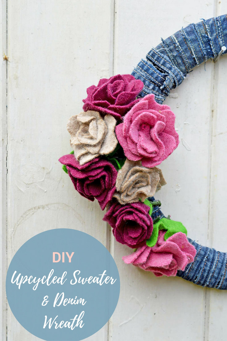 This gorgeous denim wreath for all seasons is simply made from leftover scraps from other projects. Felt scraps for the roses and jeans seams for the base.