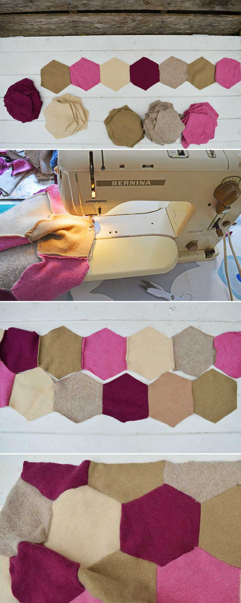 Hexagon recycled sweater blanket.