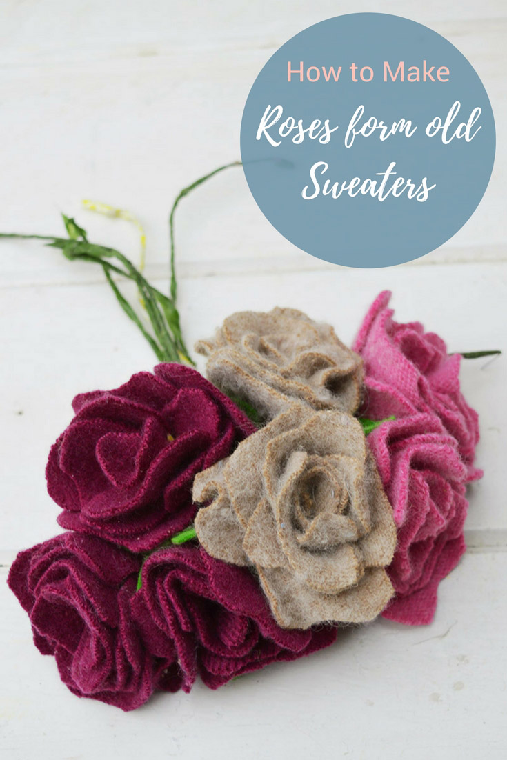 Upcycled Sweater Felt Roses DIY