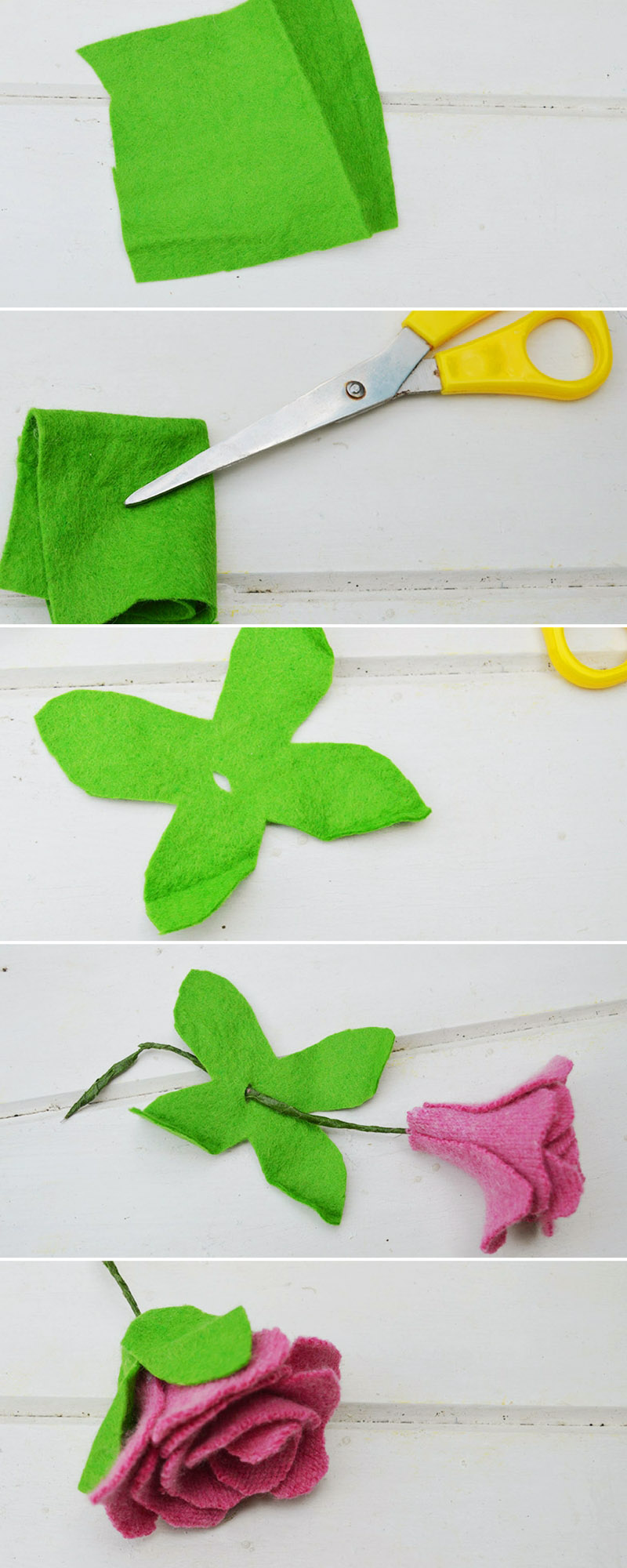 Making felt leaf for sweater roses