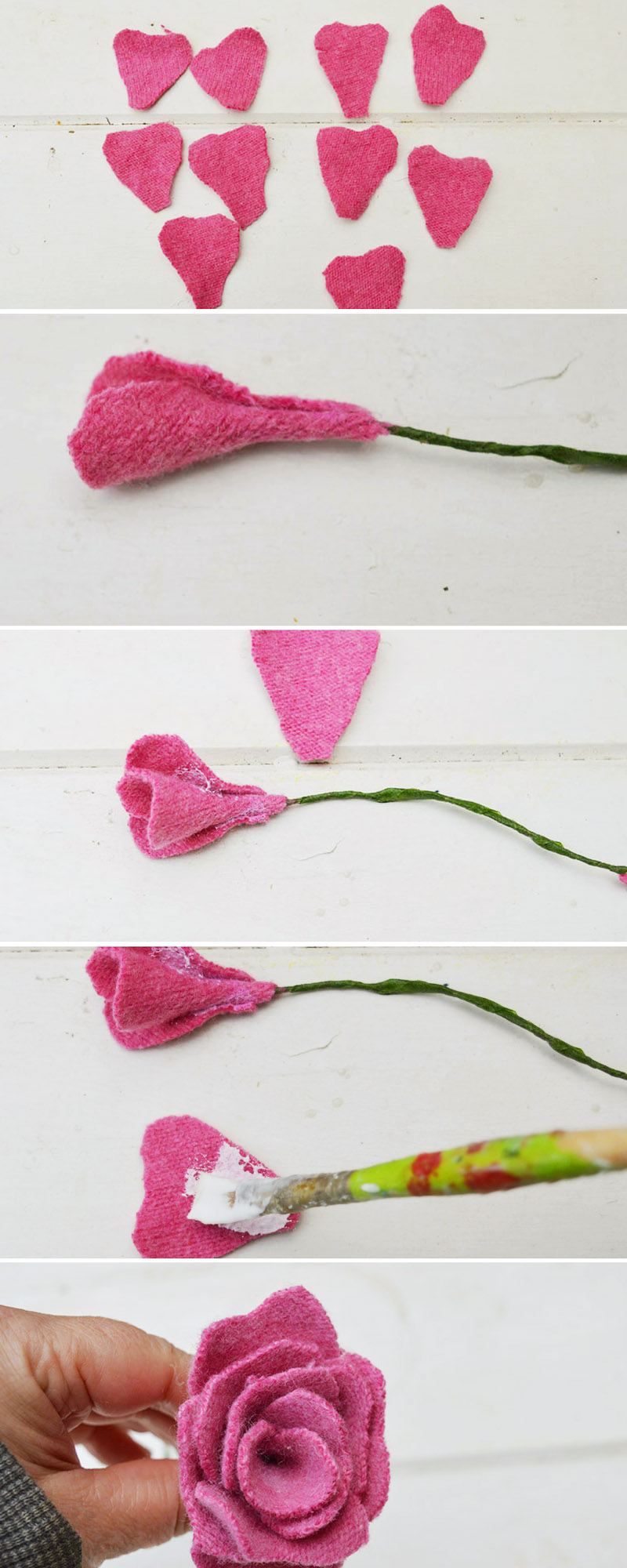 How to  make a sweater felt rose