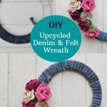 Upcycled Denim wreath with felt flowers
