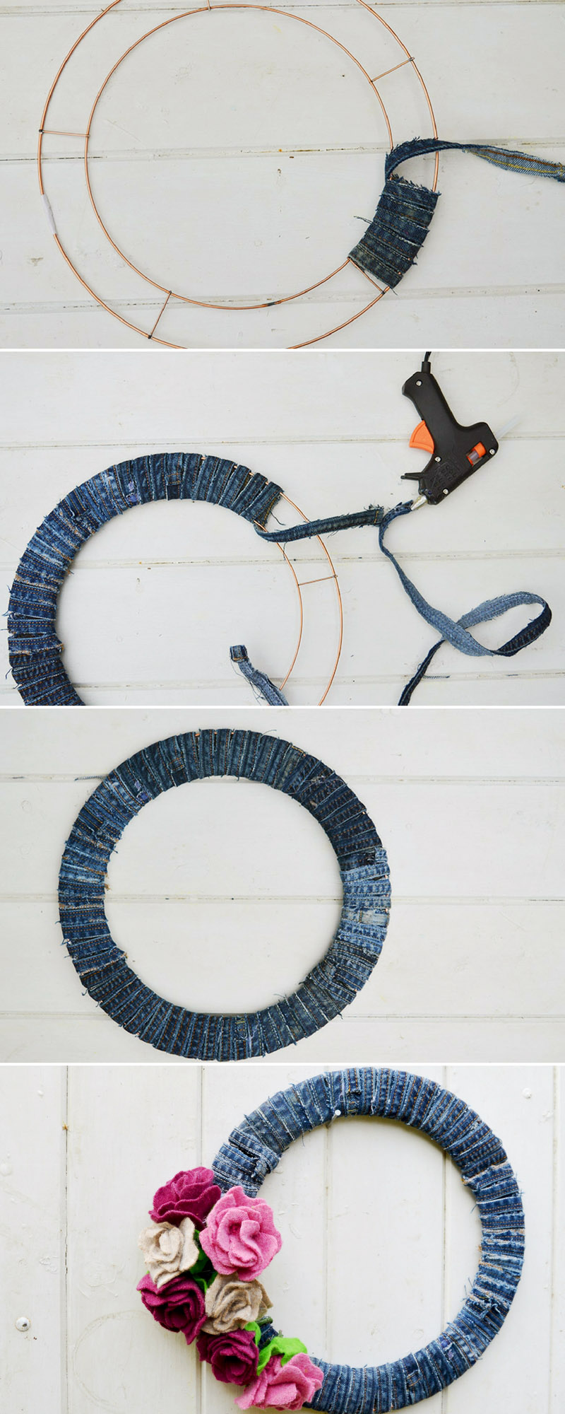 Putting together your recycled jeans wreath by adding the DIY sweater felt roses.