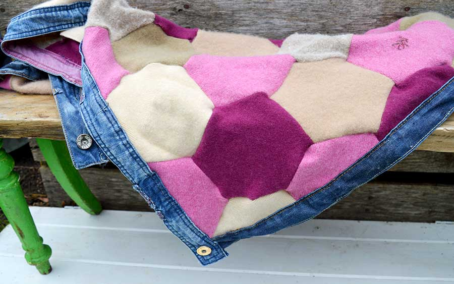 Hexagon patchwork recycled sweater blanket