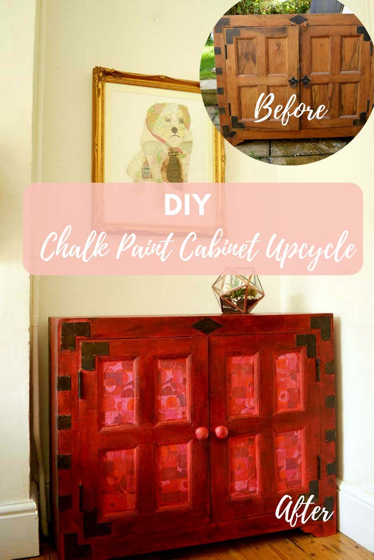 Chalk paint makes a cabinet upcycle so easy, as no prep is required.  This cabinet upcycle was done with Annie Sloan Emperor's Silk chalk paint and decoupaged Marimekko napkins.