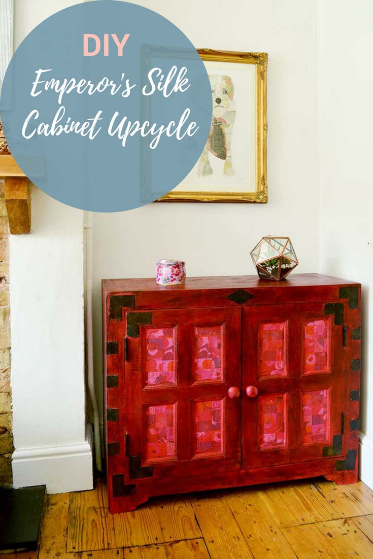 Cabinet upcycle with Annie Sloan Emperor's Silk chalk paint.  Add accents of Marimekko with paper napkin decoupage.