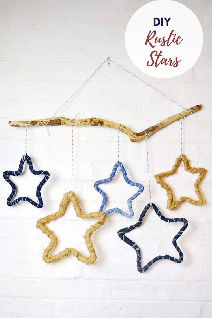 DIY denim and burlap rustic stars wall decor