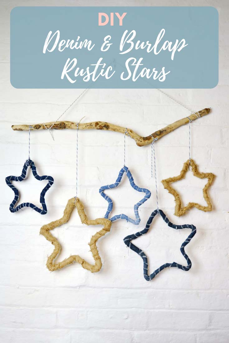 Decorate your home with gorgeous rustic stars.  They can be made from recycled jeans or burlap on a simple wireframe.  A great upcycled Christmas decoration.
