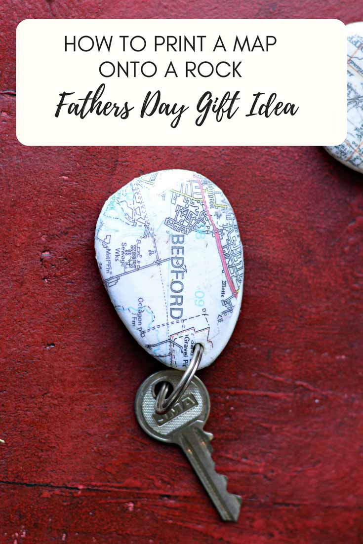 Map rock keychain fathers day gift