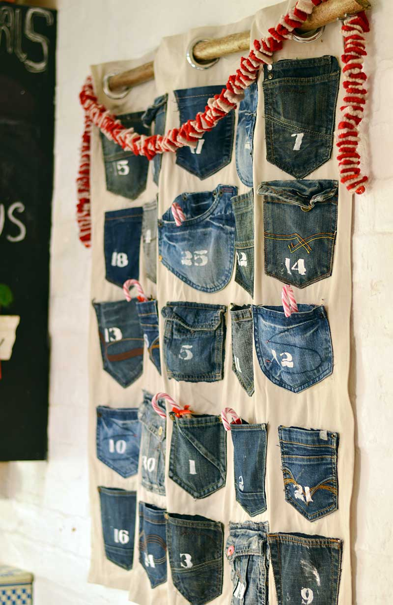 DIY jeans pocket advent calendar