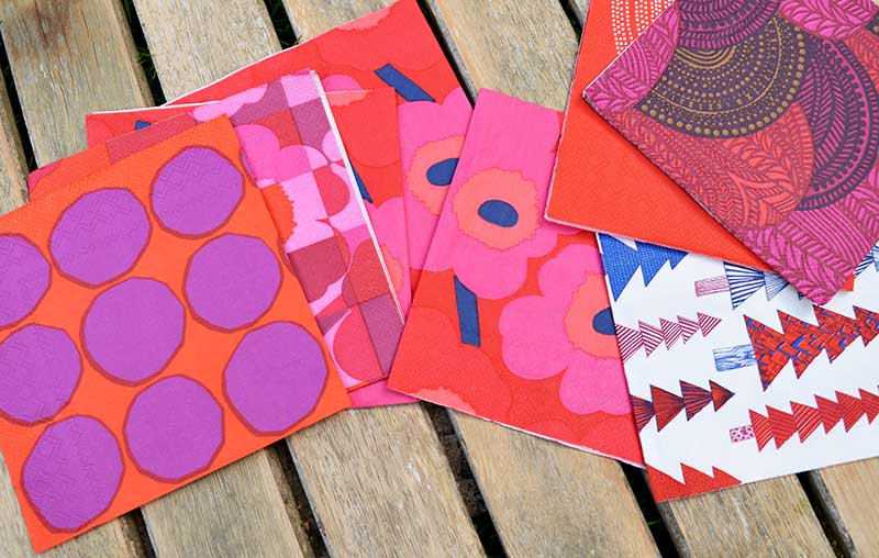 Assortment of Marimekko Christmas napkins.