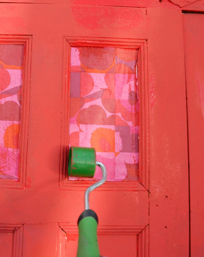 Marimekko napkin cabinet upcycle decoupage