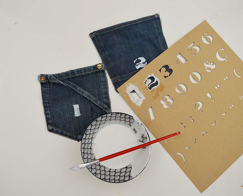 Stenciling denim pockets for a handmade advent calendar