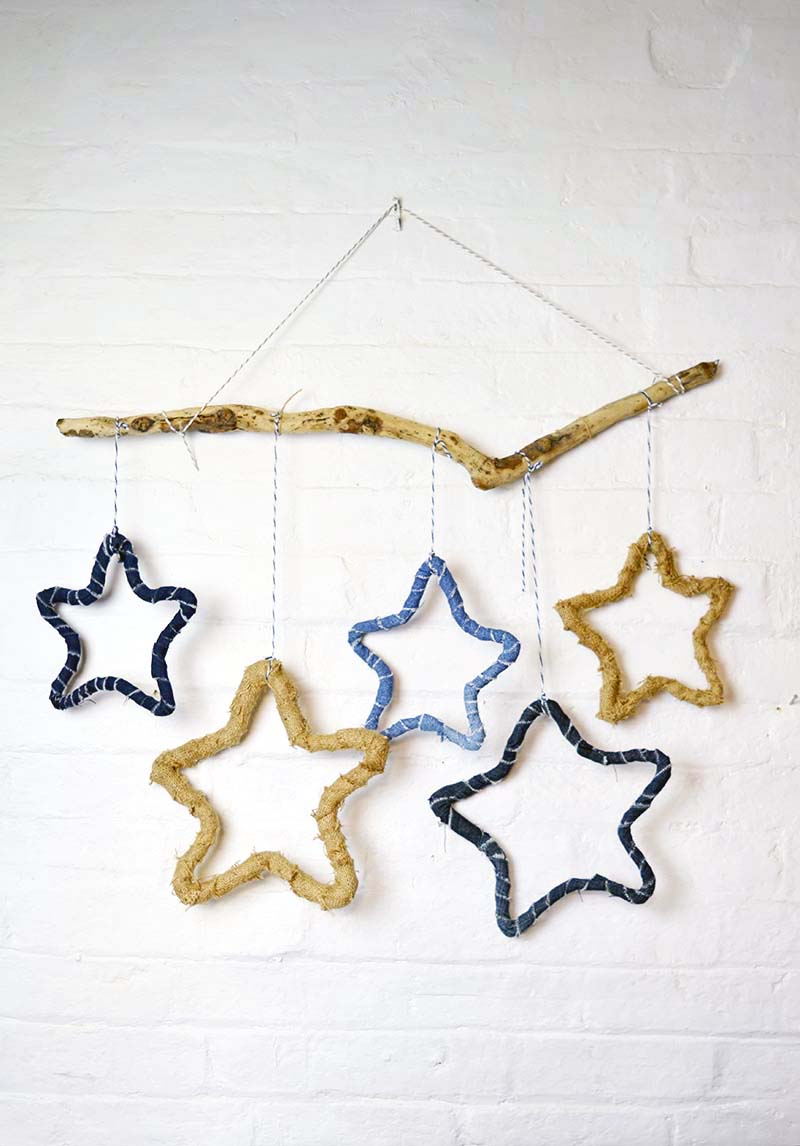 Make rustic stars to decorate your home. They can be made from recycled jeans or burlap on a simple wireframe. A great upcycled Christmas decoration.