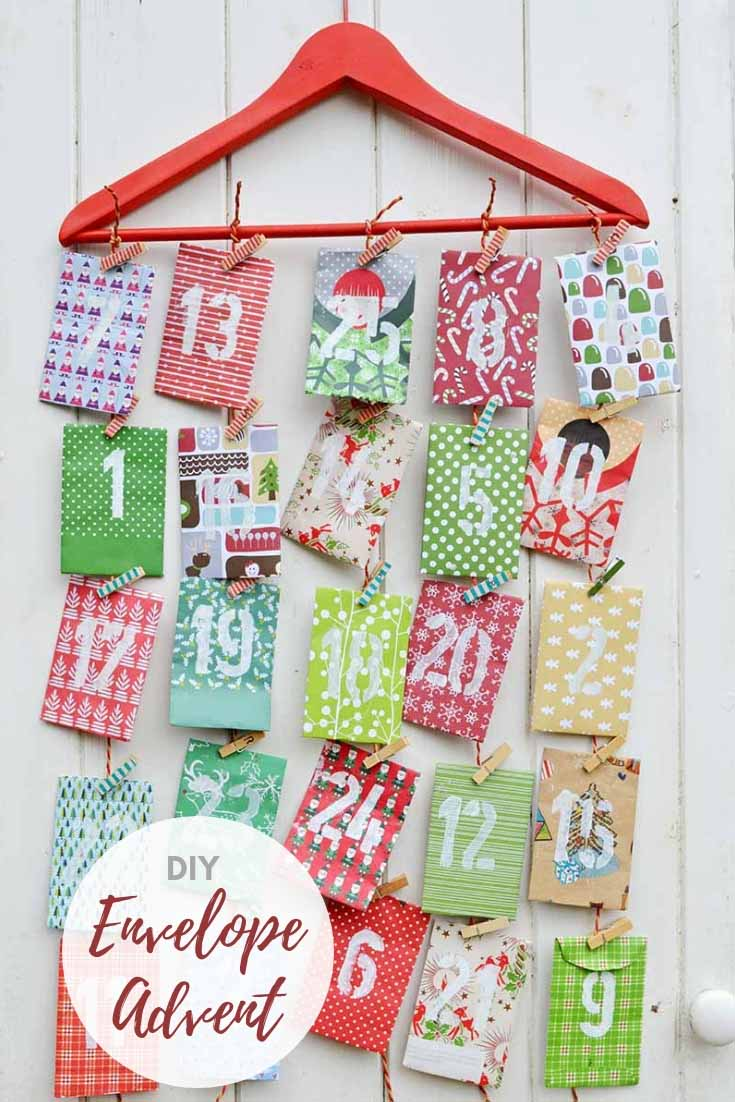 Free template to make a paper envelope advent calendar.